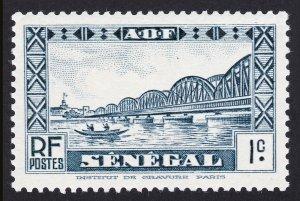 SENEGAL STAMP - SCOTT #142 VIOLET BLUE 1¢ FAIDHERBE BRIDGE MNH-OG