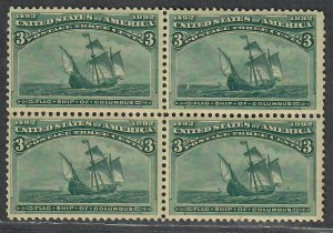 $US Sc#232 M/NH/F-VF, block of 4, perf seps, Cv. $450