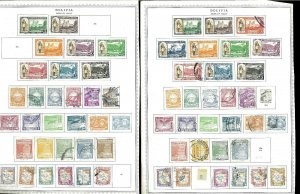 Bolivia 1943-1951 M & U Hinged on Remaindered Pages w/Duplicates.