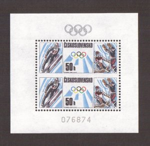 Czechoslovakia  #2687/88a  MNH  1988  two sheets  Olympics imperf between stamps