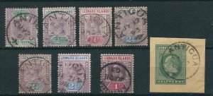 Leeward Is 7 Different with Antigua Cancels Used 1890-1902 GCV $5.05