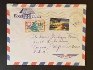 1969 Papeete Tahiti to Los Angeles California USA Airmail Advertising Cover