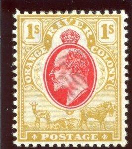 Orange Free State 1903 KEVII 1s scarlet & bistre MLH. SG 146. Sc 68.