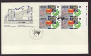 Canada 1134 Engineering Plate Block Canada Post U/A FDC