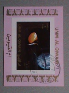 UMM AL QIWAIN AIRMAIL STAMP:   SPACE SHIP    CTO MNH S/S  #1