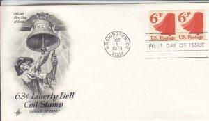 1974, 6.3c Liberty Bell Coil Stamp, Artcraft, FDC (D15731)