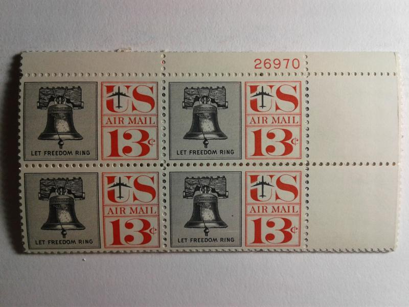 SCOTT # C62  LIBERTY BELL AIR MAIL PLATE BLOCK MINT NEVER HINGED. VERY NICE !