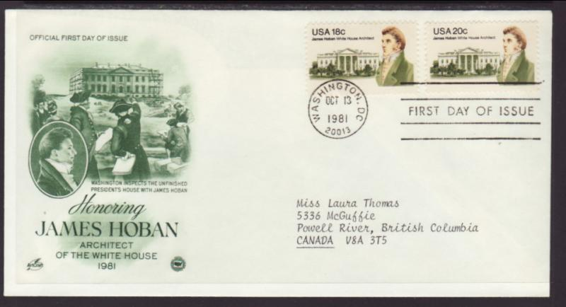 US James Hoban 1981 PCS Typed FDC BIN