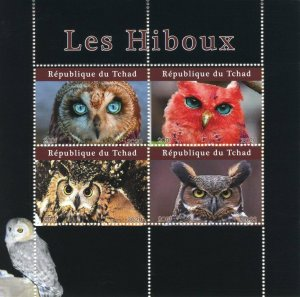 Chad Birds of Prey on Stamps 2020 MNH Owls Owl 4v M/S
