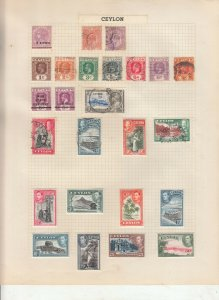 CEYLON 2 ALBUM PAGES +CARD,  VALUES MOSTLY GEORGE 5TH-QE 2ND, MOUNTED MINT/USED