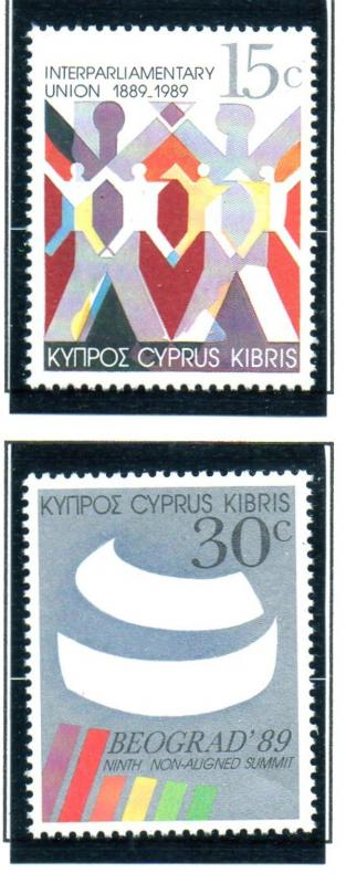 Cyprus Sc 727-8 1989 IPU & Summit stamp set mint NH