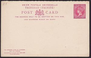TRINIDAD QV 1d postcard with reply card fine unused.........................5395