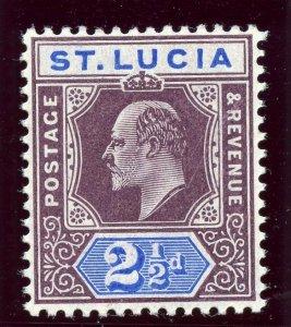 St Lucia 1904 KEVII 2½d dull purple & ultramarine (CH) MLH. SG 68b. Sc 52.