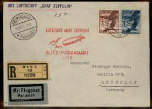 Austria 1932 Graf Zeppelin Si189 8th SAF Asuncion Paraguay Cover 91103