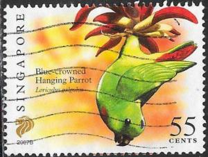 Singapore 1253a Used - Birds - ‭Blue-Crowned Hanging Parrot (2007B)