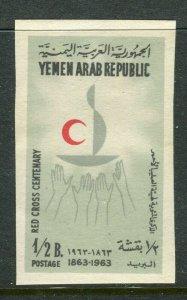 YEMEN;  1963 Red Cross Anniversary issue Mint MNH 1/2b. IMPERF VARIETY value