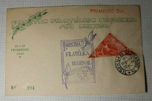 Brazil Philatelic Expo 1948 FDC 40c Triangle Aviation Week RABI