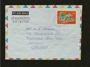 Ghana Postmarked 1971 Pre-stamped Aerogramme to Canada Cover Used