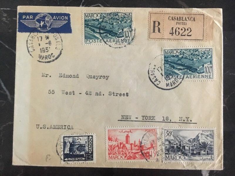 1951 Casablanca Morocco Registered Airmail Cover to New York USA