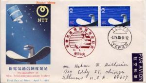 Japan, First Day Cover, Telephone and Telegraph