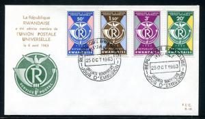 Rwanda FDC Rwanda's admission to the UPU, 1963. Post Horn, Pigeon x28744