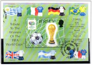 Jersey Sc 1216 2006 £2 World Cup stamp sheet used