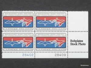 #1306 Migratory Birds Upper Right  Plate Block 28407 28409 F