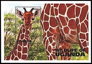 Uganda 1396, MNH, Giraffe souvenir sheet