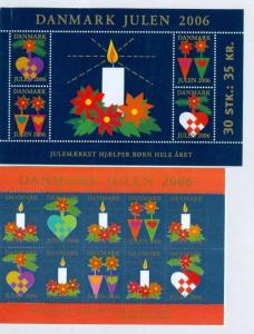 Denmark.  Booklet  2006  With 30 Christmas Seals MNH. Christmas Decorations