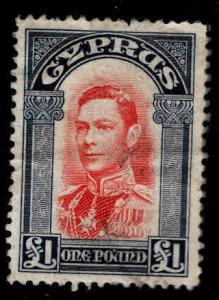 Cyprus Scott 155, SG 163 Used KGVI £1 top value of 1938-44 set