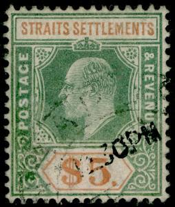 MALAYSIA - Straits Settlements SG121, $5, FINE USED. Cat £180.