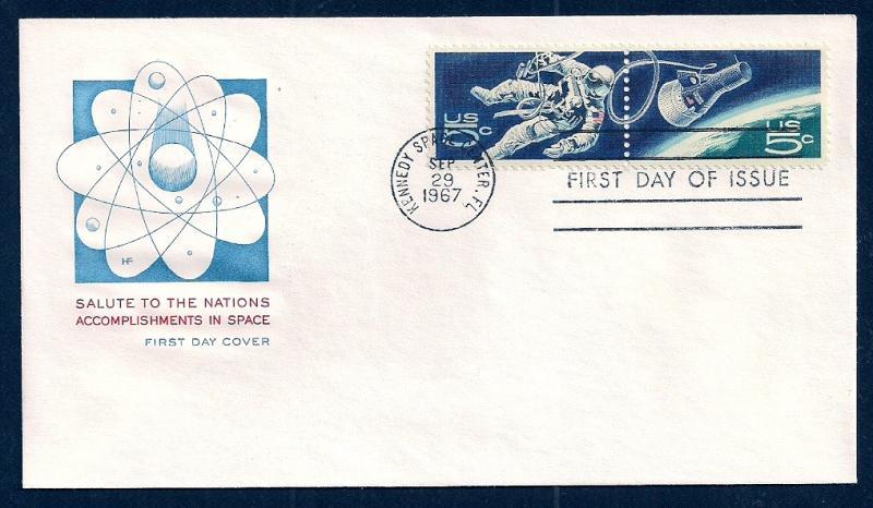 UNITED STATES FDC 5¢ Space PAIR 1967 Farnam