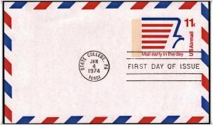 SC#UXC14 11¢ Stylized Eagle FDC Postal Card (No Cachet)