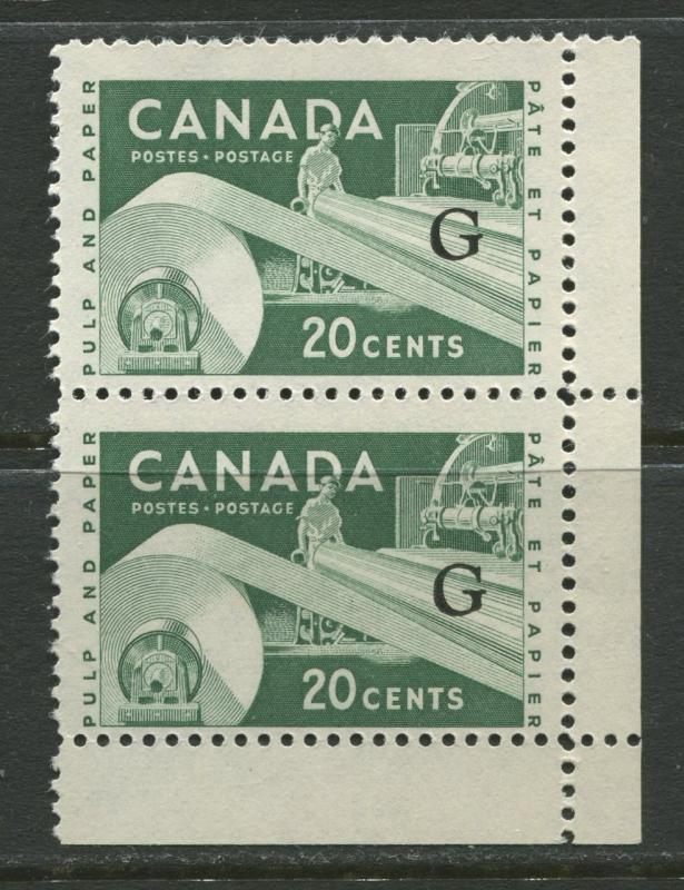 Canada - Scott O45a - Overprint Type c - 1956 - MNH  - Vert.Pair 20c stamp