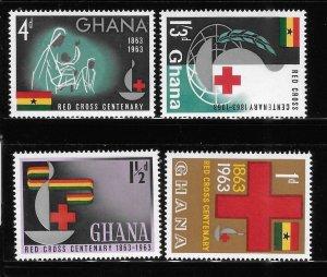 Ghana 1963 Cent of founding of intl red cross Sc 139-142 MNH A332