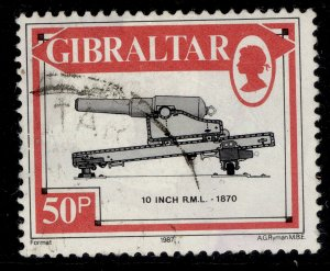 GIBRALTAR QEII SG578, 1987 50p 10 inch rifled muzzle-loader, FINE USED.