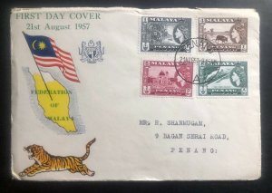 1957 Penang Malaya First Day Cover FDC New Pictorial Postage Stamp