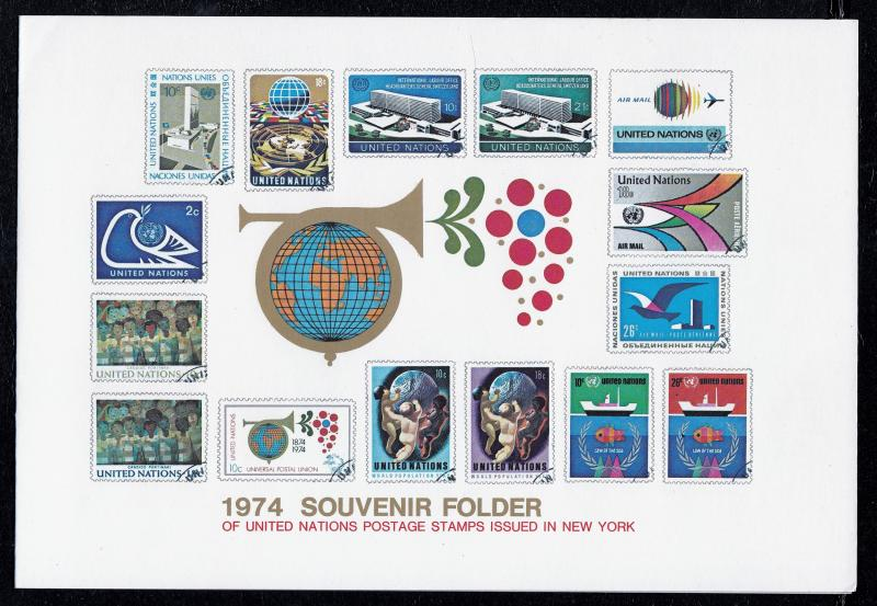 United Nations 1974 Souvenir Folder Complete with Stamps