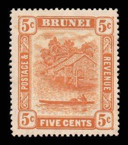 Brunei 1924 KGV 5c orange-yellow wmk MSCA SG 66 mint