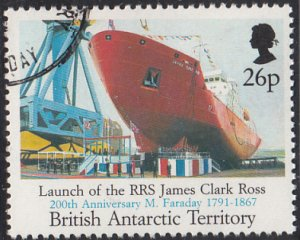 British Antarctic Territory 1991 used Sc #189 26p RRS James Clark Ross Farada...