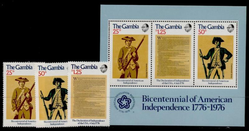 Gambia 335-7a MNH American Bicentennial, Military Uniforms