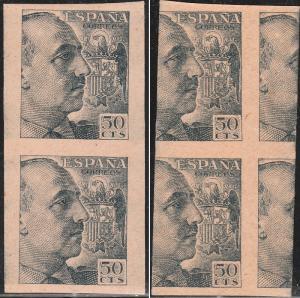SPAIN EDIFIL 927s 50c IMPERF VERT PAIR, PRINTED BOTH SIDES. MNH NG. F-VF. (35)