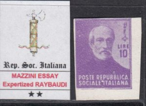 ITALY RSI (Social Rep) - GARIBALDI ESSAY 10 Lire signed Raybaudi