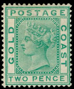 GOLD COAST SG6, 2d green, M MINT. Cat £140.