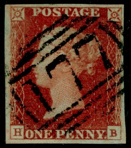 SG8, 1d red-brown PLATE 51, FINE USED. Cat £30. 4 MARGINS. HB