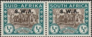 South West Africa, # B9 MH  Pair,  from 1939, hinge remnant