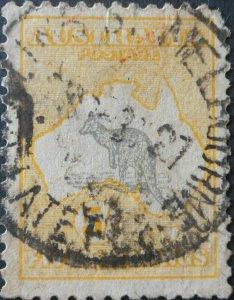 Australia 1918 Five Shillings Kangaroo with SPENCER ST LATE FEE postmark