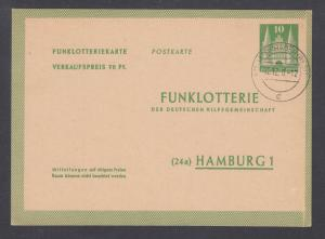 Germany H&G X2 mint. 1950 10pf Radio Lottery Card, fresh