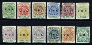 TRANSVAAL Second British Occupation Overprinted V.R.I. Set SG 226 - SG 237 MINT