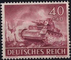 Stamp Germany Mi 841 Sc B228 1943 WW2 Fascism Wehrmacht Tanks Gun Army MNH